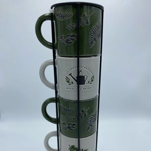 4 Mugs in an Evergreen Theme in a Wire Basket